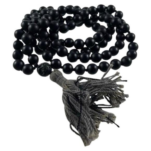 Black Shungite 6mm Cubic Bead Stretchy Bracelet Mala Yoga Buddha
